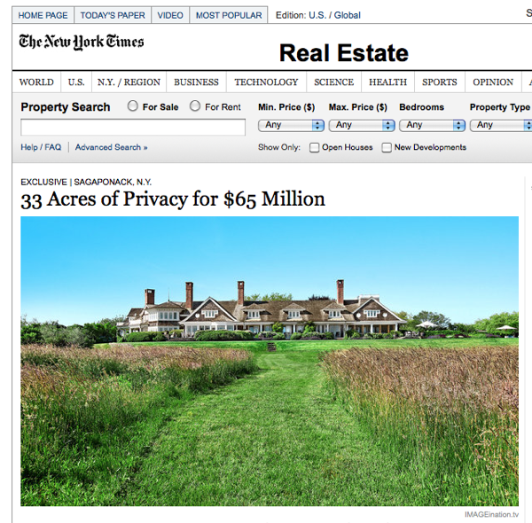 A screen shot from the New York times with a headline of 33 acres of privacy for 65 million, and a picture of a sprawling house on a huge estate