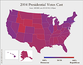 A map of America in gradations of purple