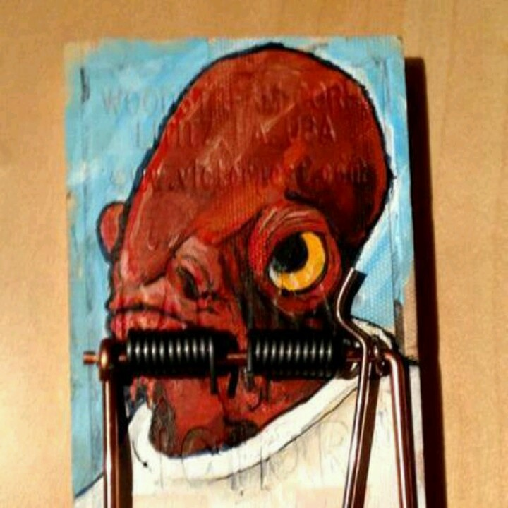 Admiral Ackbar painted on a mousetrap